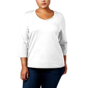 Karen Scott Macy's Plus 3/4 Sleeve Side Button Tee